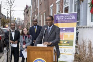 Council president Darrell Clarke speaking at a Solarize Philly event