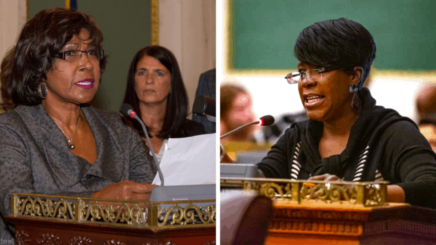 Split image of Councilwomen Reynolds-Brown and Parker speaking at a council session