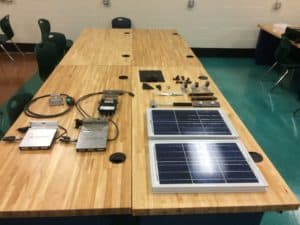 Solar panels and components at the Find your Power solar trainee class