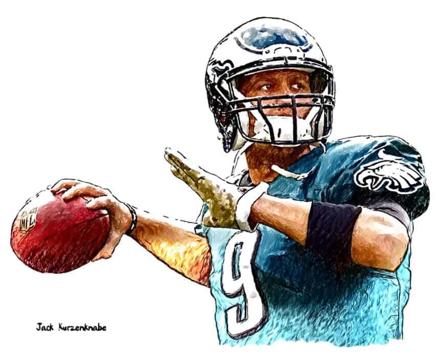 Illustration sketch of football player Nick Foles
