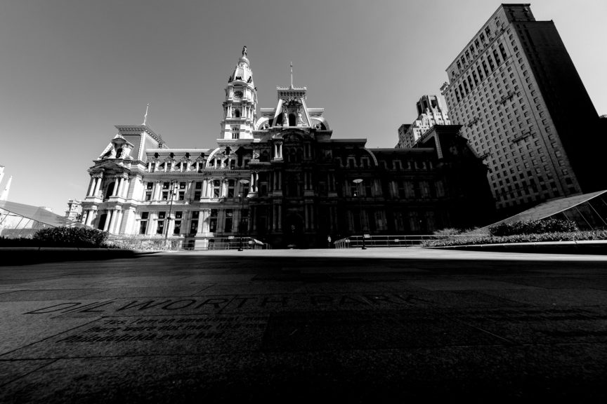 Black and white photo of Philadelphia City Hall